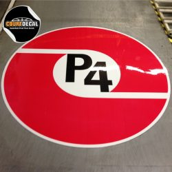 COURT DECAL FLOOR DECAL USED IN WAREHOUSE FACILITY PROTECTED WITH GUARD